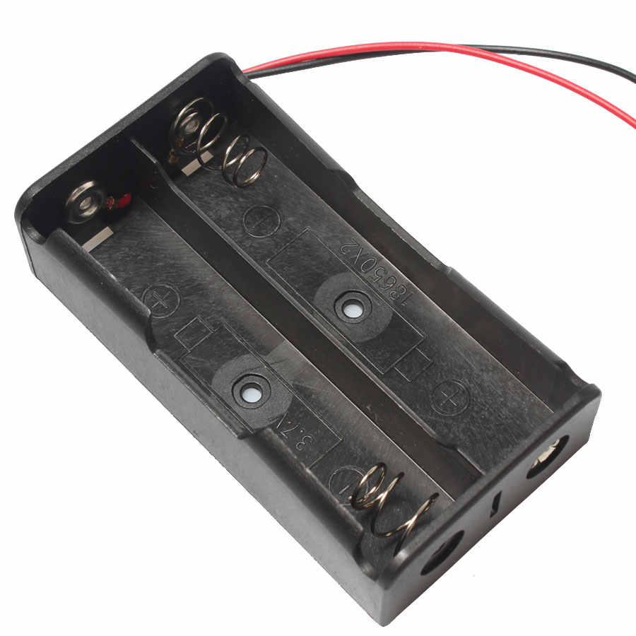 Оптовая продажа 100 шт/лот 7,4 В 18650 Держатель батареи 2 слота коробка для батарейного отсека с проводным свинцом и разъемом постоянного тока 5,5*2,1 мм
