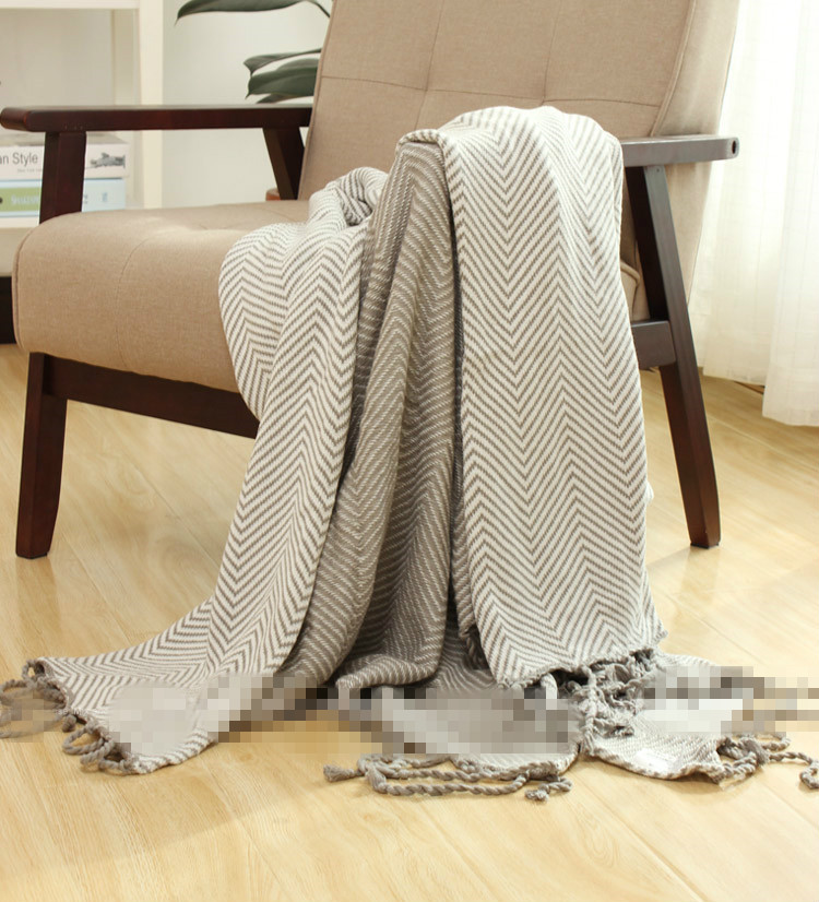 Free shipping 100%cotton thread Japan pattern light gray striped throw single size sofa leisure blanket bedspread nordic style cotton thread blanket thicken woven bed spread throw sofa cover blanket free shipping