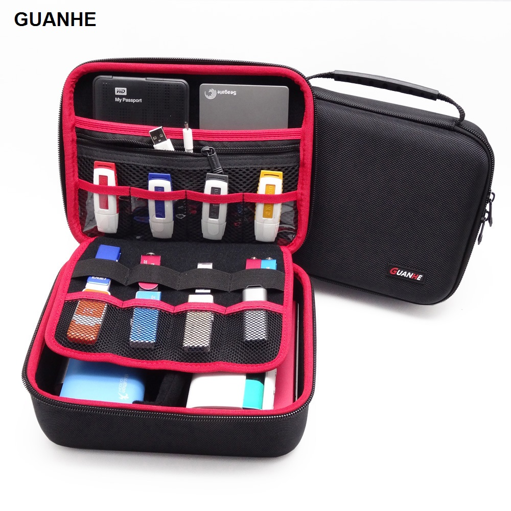 GUANHE 3.5 inch grote maat multilayer digitale gadget opbergtas neopreen reisorganisator case voor hdd, usb flash drive camera