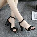 15 sandalias femeninas de cuero genuino botón sandalias de tacón grueso zapatos de moda femenina de las mujeres