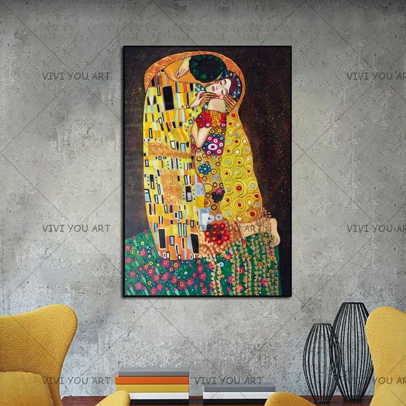 Pintura a mano reproducción oro pintura al óleo sobre lienzo arte de pared hecho a mano Gustav Klimt beso en amor artesanía decorativa