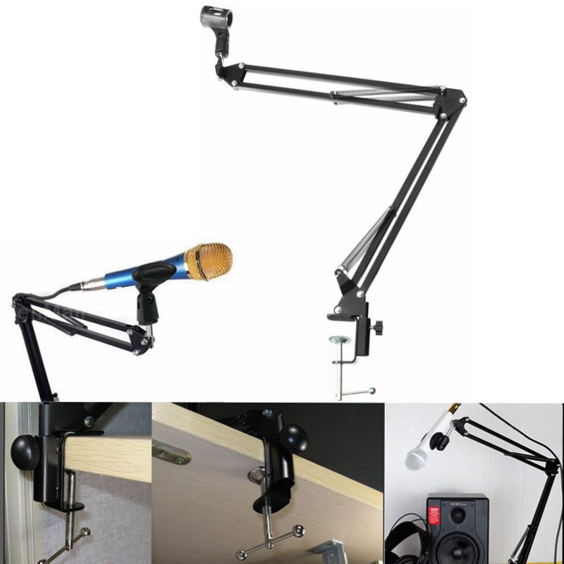 New Recording Microphone Holder Stand Clip Mic Adjustable Suspension Boom Table Bracket With Shock Holder Mount For Micrphones adjustable height microphone stand dual mic clip round metal weighted base boom arm tripod for recording and podcasting