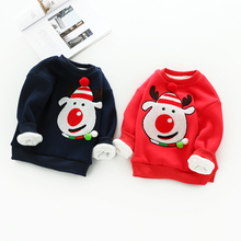 Children's winter coat 2017 new boys and girls plus cashmere thick sweater cute baby Christmas cartoon jacket