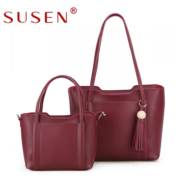 Susen New Luxury Handbags Women Bags For 2017 Large Capacity Shoulder Wassel Solid Color Casual Tote