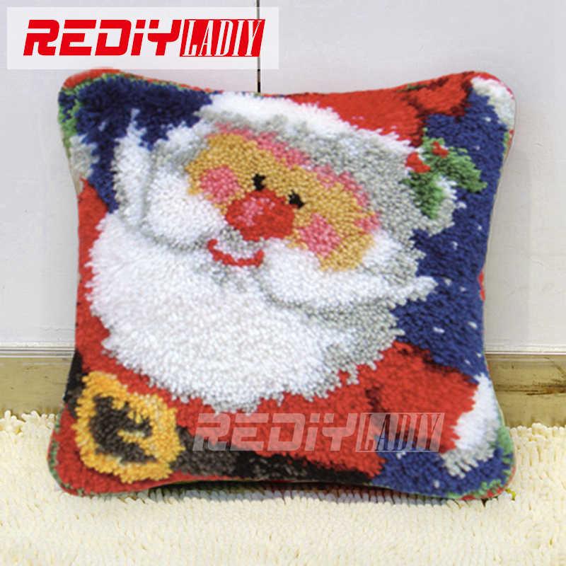 Latch Hook Pillow Kits Santa Christmas Hot Diy Needlework Crocheting Rug Yarn Handmade Unfinished Embroidery Pillowcase