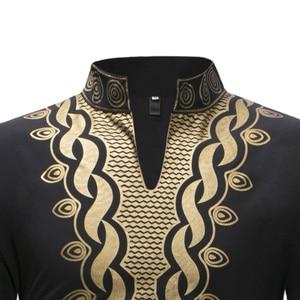 Image 4 - אופנתי האפריקאי דאשיקי T חולצת גברים ארוך במיוחד הנלי צוואר לכשכש סגנון Mens חולצות 2018 Slim Fit ארוך שרוול Harajuku חולצות Tees