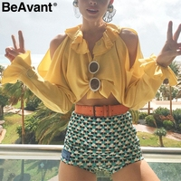 BeAvant Tiered Ruffle Neck Chiffon Blouse Shirt Button Flare Long Sleeve Blouse Women 2018 Summer Off