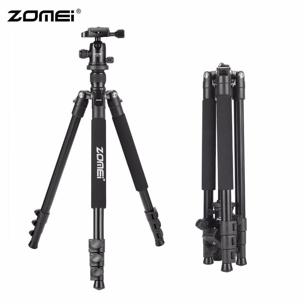 Zomei Q555 trépied d'appareil-photo en aluminium de voyage Portable professionnel de 63 pouces avec tête à billes de 360 degrés pour appareils photo reflex numériques DSLR