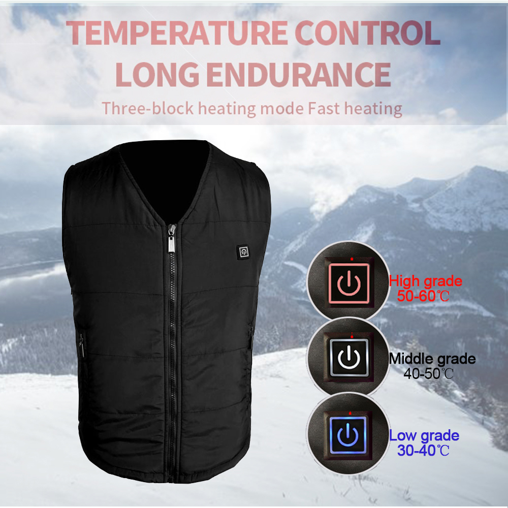 New USB Heated Vest Winter Warm Heating Vest 3 Level Electric Thermal Hiking Vest Size Adjustable from S-XXXL for Men Women Use new heated down vest usb charging vest skiing hiking camping winter men vest down keep body warm blue black size s xxl