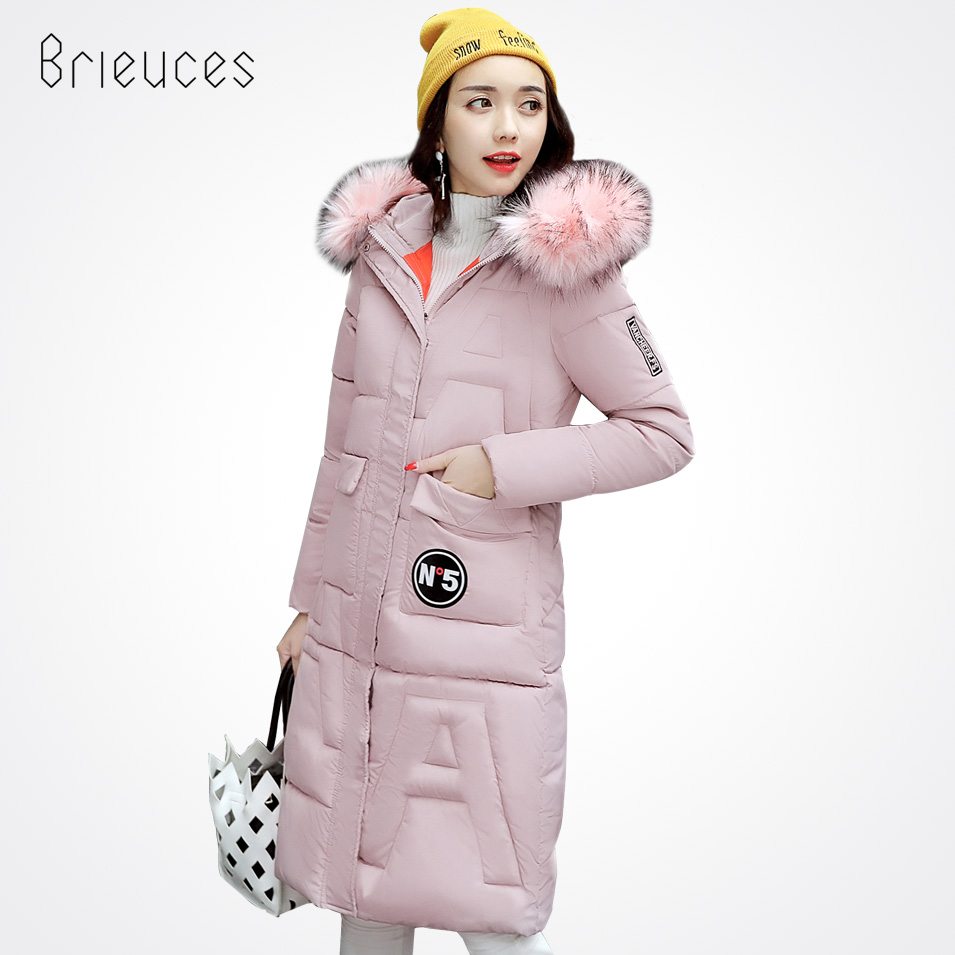 Brieuces Snow wear wadded jacket female 2017 Winter jacket women Fur slim long cotton padded outerwear winter coat female a suit of graceful rhinestone water drop necklace bracelet ring and earrings for women