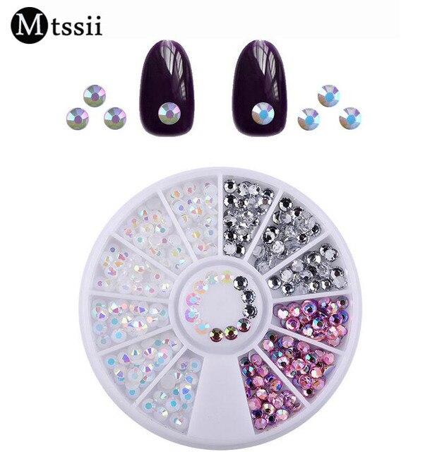 Mtssii 1 Box Jelly AB Acrylic 3D Diamond Nail Art Stud Silver Round ...