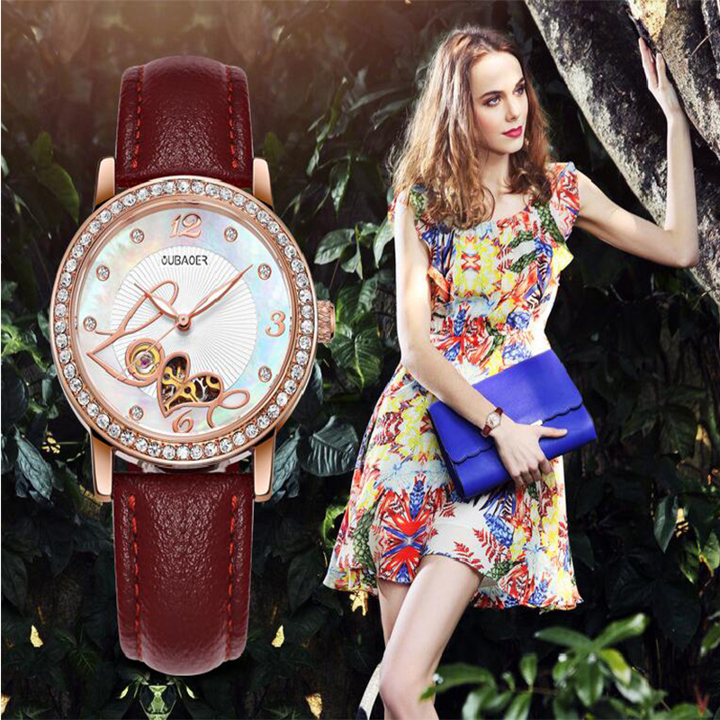 OUBAOER Ladies Mechanical Wrist Watch 2017 Dress Automatic Watch Women Watches Female Clock Montre Femme Relogio Feminino saat newly design dress ladies watches women leather analog clock women hour quartz wrist watch montre femme saat erkekler hot sale