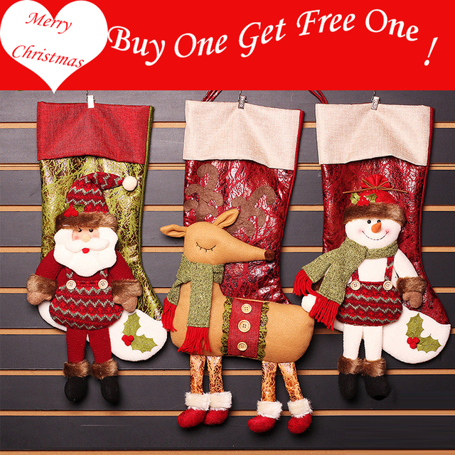 buy one get one free christmas decoration large christmas stockings socks gift bags for kids old - Large Christmas Stockings