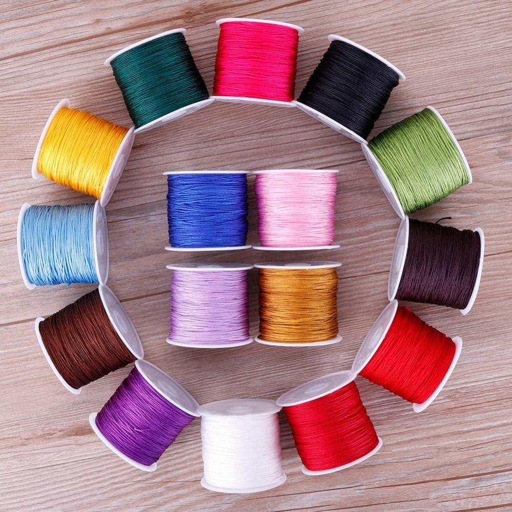 0.8mm 45M/Roll Nylon Cord Thread Chinese Knot Macrame Rattail Bracelet Braided String #255733(China)