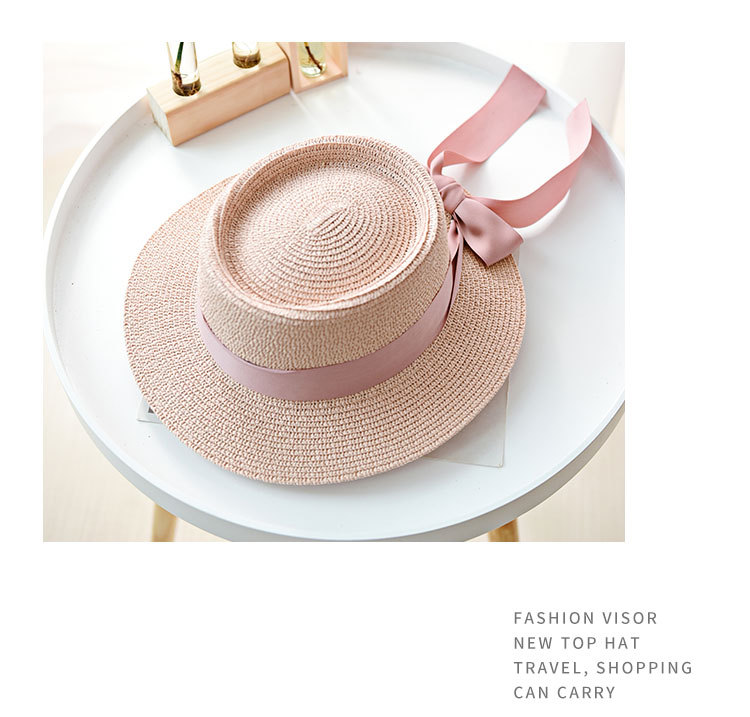 HTB1.vb3aInrK1RkHFrdq6xCoFXa4 - Ymsaid New Summer Sun Hats Women Fashion Girl Straw Hat  Ribbon Bow Beach Hat Casual Straw Flat Top Panama Hat Bone Feminino