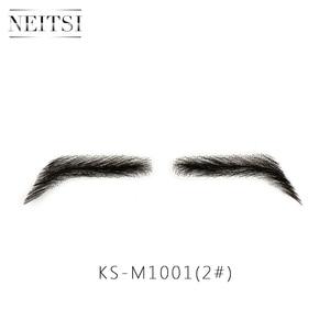 Image 2 - Neitsi לגבר 100% שיער טבעי רמי שיער בלתי נראה בעבודת יד מזויף גבות יד קשור גבות שווא M1001