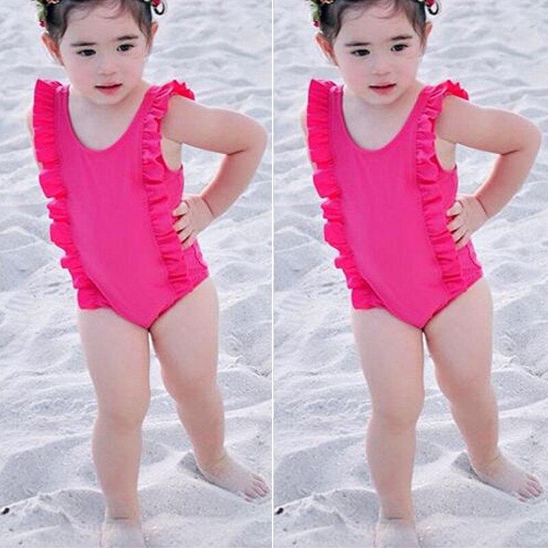 2018 Mode Sommer Neugeborenen Kinder Baby Mädchen Red Rüschen Bademode Einteiligen Badeanzug Badeanzug Strand Kleidung Bademode Attraktive Mode