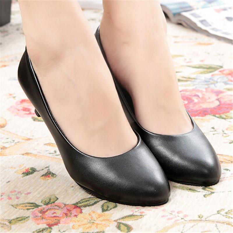 Pu Leather Low Heel Shoes Women Office