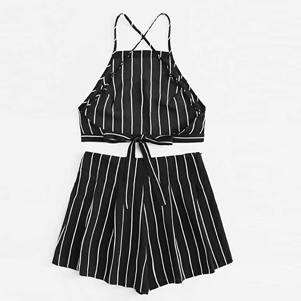 Женский комплект из двух предметов 2019, женские короткие штаны с лямкой, комплект из двух предметов, короткий топ сексуальный комплект с горячими штанами, летняя одежда для женщин #604