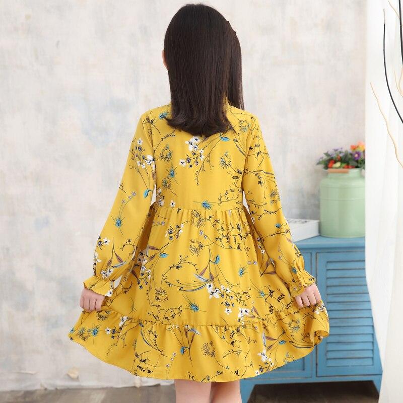 girl summer dress long sleeve children clothes floral dresses  3 5 8 10 12 years girl vestidos enfant yellow white korean dress 6