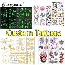 Glaryyears مخصص الوشم شخصية الوشم المؤقت ملصق مقاوم للماء جعل التصميم الخاص بك