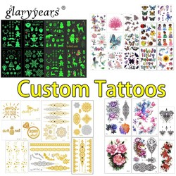 Tatuaje temporal personalizado glaryears, tatuaje temporal personalizado, adhesivo impermeable, haga su propio diseño