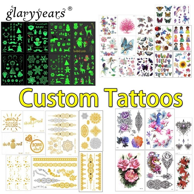 glaryyears Custom Tattoo Personalized Temporary Tattoo Sticker Waterproof Make Your Own Design