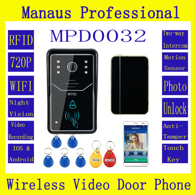 High Quality ENNIO Touch Key WiFi DoorBell Wireless Video Door Phone Home Intercom System IR RFID Camera D32C