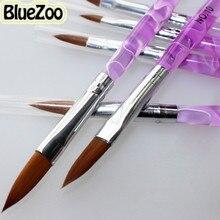 BlueZoo 6pcs/pack Nail Brushes Set UV Gel Acrylic Pupple Nail Brush Pen For Nails Art Decoration Manicure Pedicure Tool