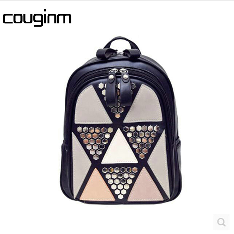 COUGINM New Fashion Women Backpack Rivet Geometric Patchwork Backpack Hot Sale Ladies PU Leather Travel Bag