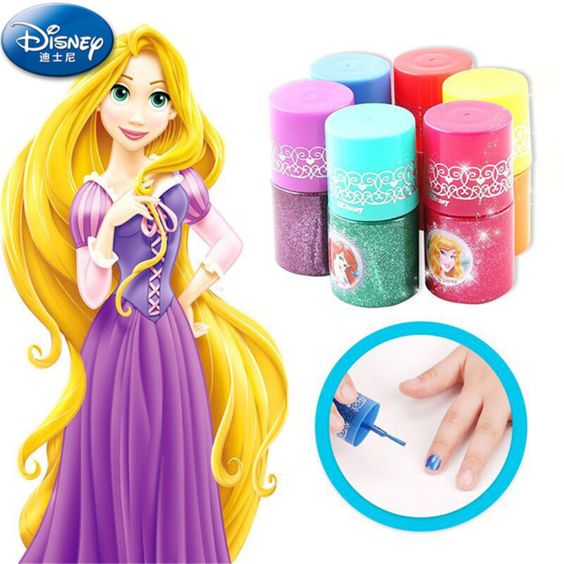 2019 New Disney Water Soluble Fingerprint Kids Cosmetic Makeup Girl Show Toys For Children Gifts Nail Polish Pretend Play House