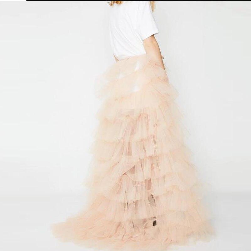 Trendy szampana falbany tiul spódnice wiązane Sash Bow wielowarstwowe długie Tulle spódnica kobiety dla nowożeńców trenuj ponad spódnica Faldas Mujer Moda w Spódnice od Odzież damska na  Grupa 2