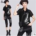 2015 verão de manga curta tops impressão feminino guitar rock hip hop jean bolso lapela costura gaze halter blusa mulheres tops