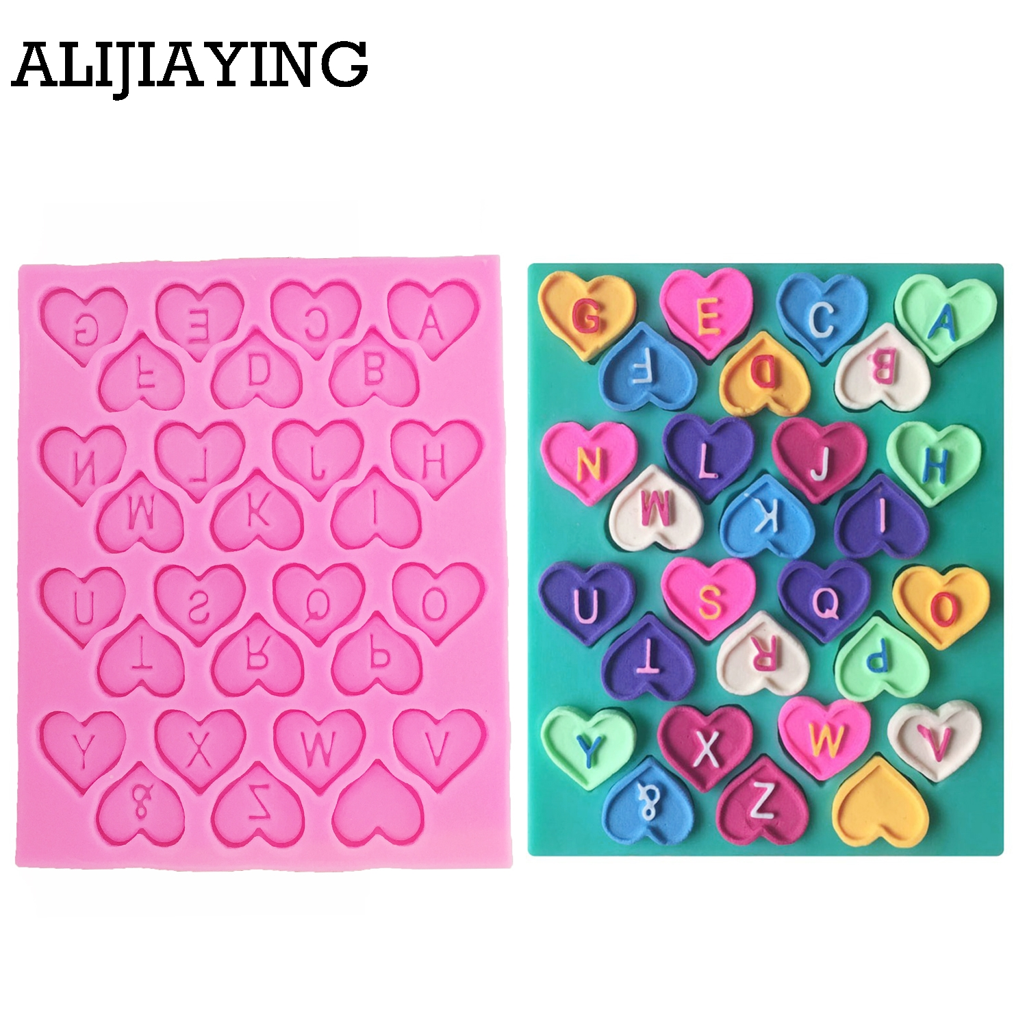 M0198 DIY <font><b>Cake</b></font> <font><b>Decorating</b></font> Love Heart <font><b>Letter</b></font> Lace Shaped Fondant Silicone <font><b>Cake</b></font> Molding Sugar Art <font><b>Tools</b></font> image