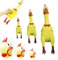 New Small Size Yellow mini Screaming Rubber Chicken Pet Dog love Toy Squeak Squeaker Chew Funny Trick Gift Toys 17CM wholesale