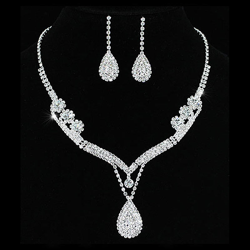 Bridal Wedding Party Quality Party Crystal Necklace Earrings Set Bridesmaid Jewelry CS1201