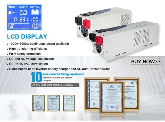 Onduleur de puissance solaire à onde sinusoïdale | 2000W, convertisseur de puissance solaire pur 12V 24V à AC 220V 230V, onduleur à démarrage souple