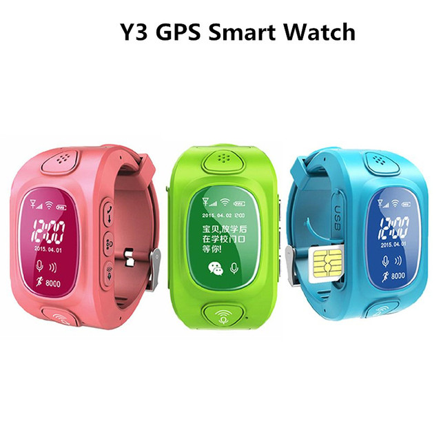 Y3 Kids GPS/GSM Smart Watch for Kids Children SmartWatch with SOS Support GSM phone Android&IOS Anti Lost