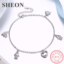SHEON 100% 925 Sterling Silver Butterfly Heart Charm Anklet Foot Chain Ankle Bracelet For Women Jewelry