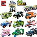 Ciudad enlighten serie policía ambulancia cars building blocks establece ladrillos modelo de ensamblaje de juguetes educativos para niños regalos de los niños