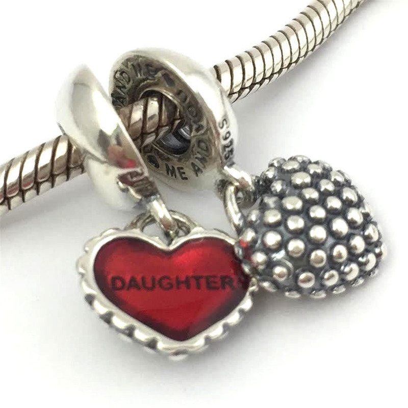 100% 925 Sterling Silver Piece of My Heart Mother & Daughter Dangle charm bead Fit Original Pandora Charms Bracelet jewelry