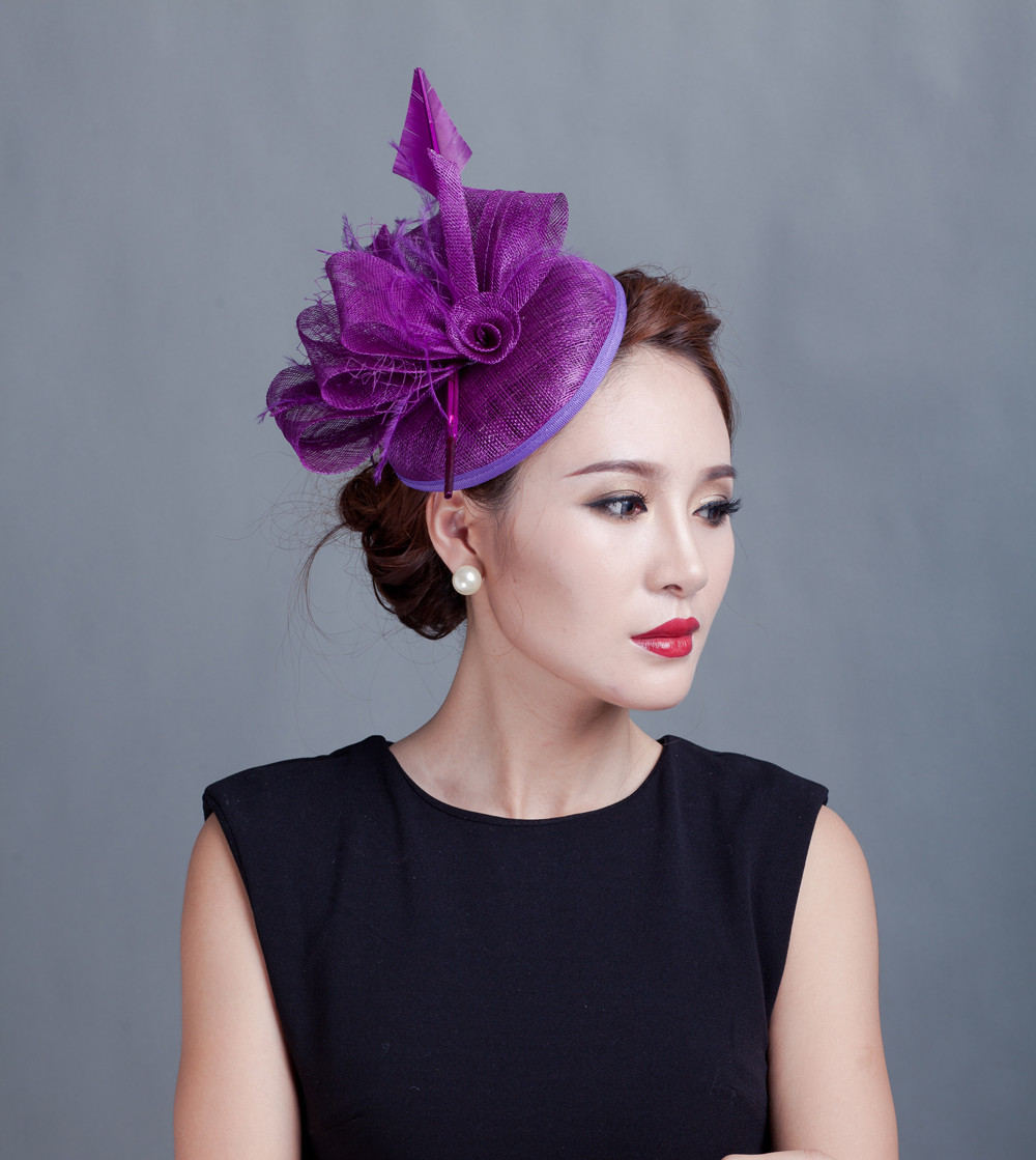 Woman Wedding Hair Style: 2016 British Style Sinamay Feather Hat Woman Hair