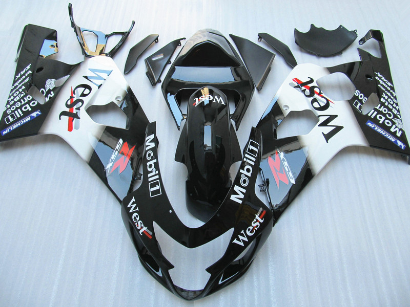 Fairing kit for Suzuki GSXR 600 750 04 05 black white motorcycle fairings GSXR750 2004 2005 YN47 кукла пупс горди б о мальчик европеец 34 см paola reina