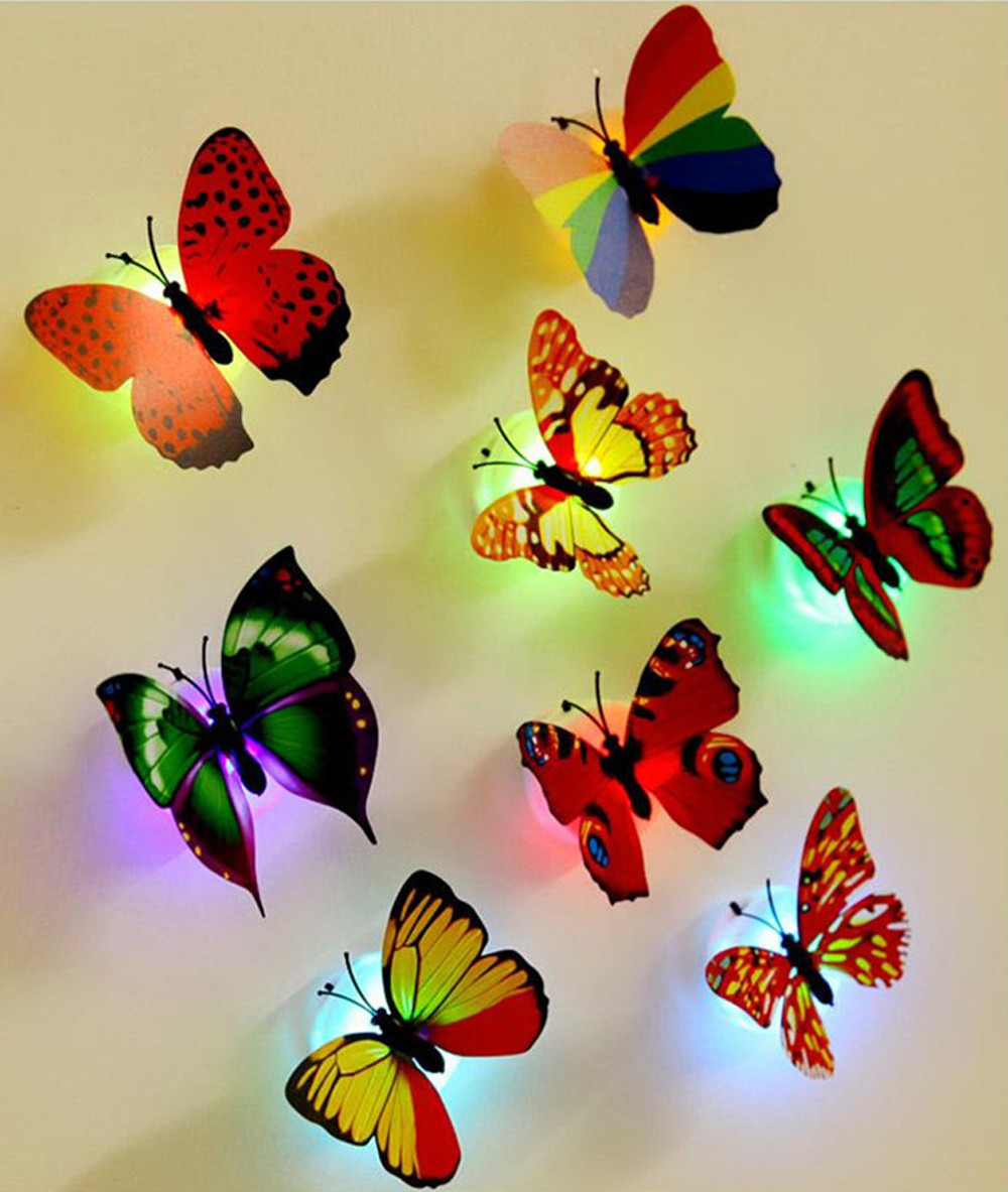 A Set 10 Pcs Wall Stickers Butterfly LED Lights Wall Stickers 3D House Decoration Living Room Bedroom Kitchen Decor