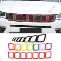 3 Colori ABS Griglia Anteriore Stampaggio Coperchio Netto Medio Copertura Trim Decorazione Per Jeep Compass 2017 + Car Styling Accessori