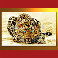 Frameless High Quality Hand Paited Modern Leopard Oil Painting On Canvas Wall Hanging Living Room Decoration
