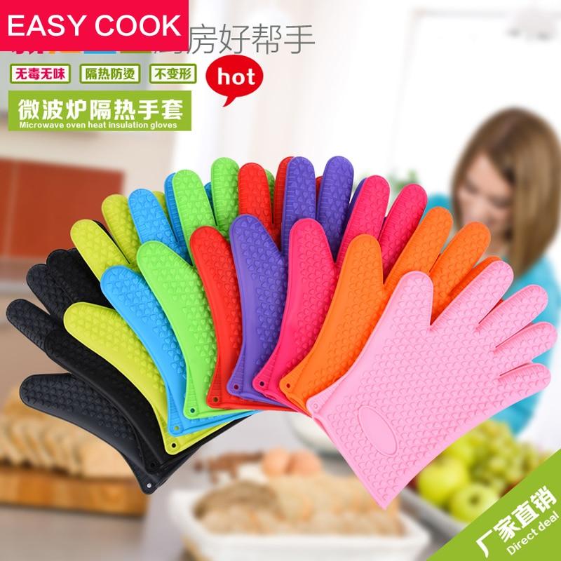 1PCS Vysoce kvalitní mikrovlnné trouby Rukavice Silikonové trouby Rukavice odolné proti sklouznutí Bakeware Kuchyňské nástroje na vaření