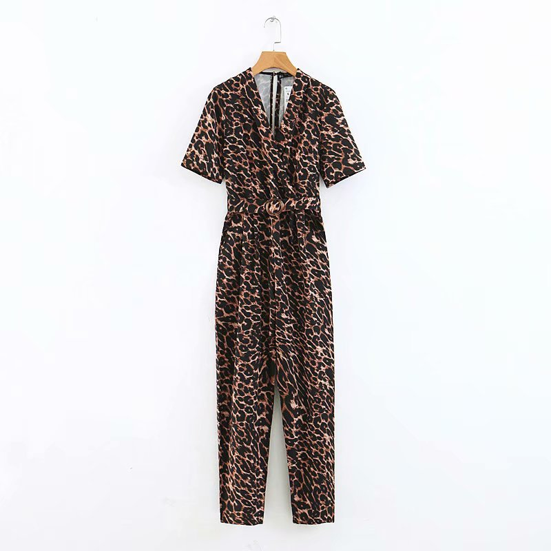 Chic Leopard Women Backless Jumpsuits 2019 Womens Spring Short Sleeve Rompers with Belts Ladies Bohemian Casual Jumpsuit Boho