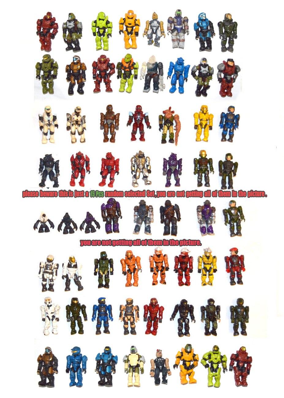 Lot of 15 Random Halo Mega Bloks Reach Figure Master Cheif Spartan Grunts Brute Arbiter Elite TOY