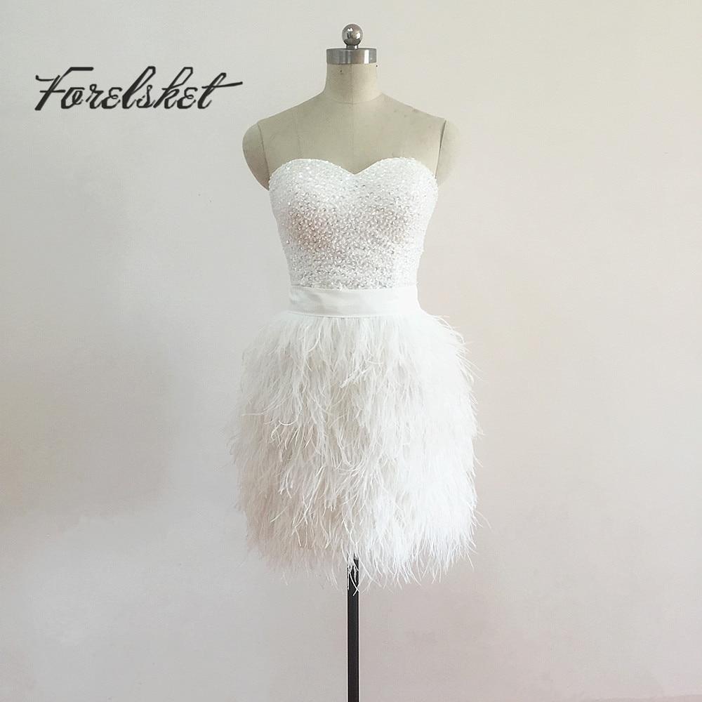 Korte Bruidsjurken 2019.Korte Trouwjurken 2019 Robe De Mariee Veren Bruidsjurken Peals Pink